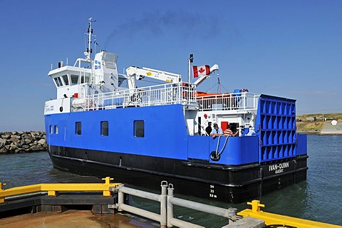 Ferry Ivan Quinn in the harbour of Ile d'Entree, Entry Island, Iles de la Madeleine, Magdalen Islands, Quebec Maritime, Canada, North America
