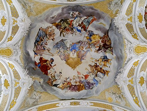 Baroque paintings on the ceiling, Church of the Jesuit University, Dillingen an der Donau, Bavaria, Germany, Europe