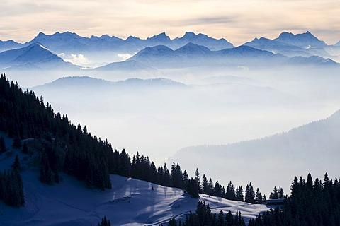 Bavarian Alps from Mt Wallenberg, winter, Upper Bavaria, Bavaria, Germany, Europe
