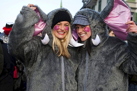 Two gray mice at the carnival procession in Malters, Lucerne, Switzerland, Europe