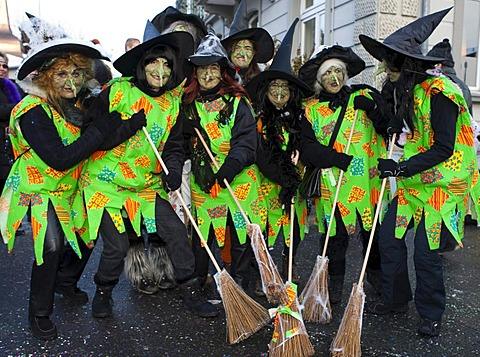 Witches at the carnival procession in Malters, Lucerne, Switzerland, Europe