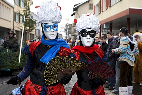 A touch of Venice during the carnival procession in Malters, Lucerne, Switzerland, Europe