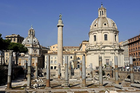 Columns of the Basilica Ulpia and Trajan's Column, Rome, Lazio, Italy, Europe