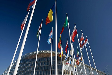 International flags, European Investment Bank EIB, Kirchberg quarter, Europe District, Luxembourg, Europe