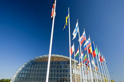 International flags, European Investment Bank EIB, Kirchberg-plateau, Europe district, Luxembourg, Europe