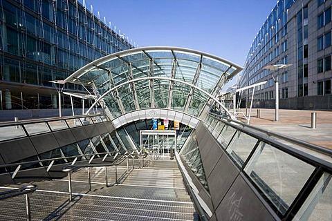 Entrance to the station, European Parliament, Brussels, Belgium, Europe