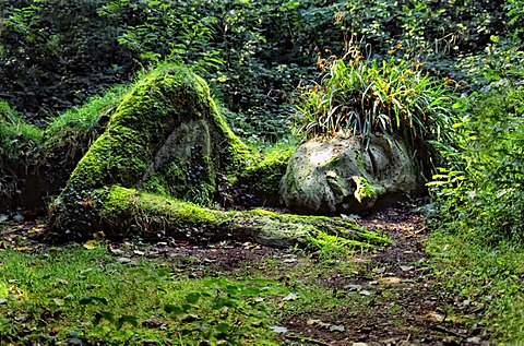 Spirit of the Wood as a garden sculpture, Heligan, Lost Gardens of Heligan, Cornwall, United Kingdom