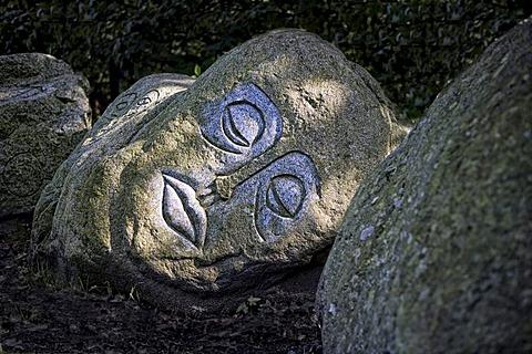 "The ""Steinkreis"", stone circle, piece of art by Anatol Herzfeld, Museum Island Hombroich open-air museum, Neuss, North Rhine-Westphalia, Germany, Europe"
