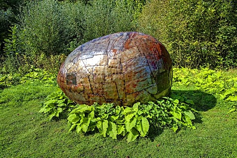 "The ""Ei"", egg, piece of art by Anatol Herzfeld, Museum Island Hombroich open-air museum, Neuss, North Rhine-Westphalia, Germany, Europe"