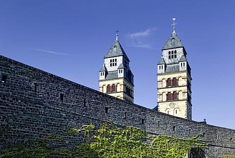 Town fortifications and Herz Jesu Church, Mayen, Rhineland-Palatinate, Germany, Europe