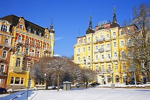 Richly decorated hotel facades, wintery, Marianske Lazne, Czech Republic, Europe