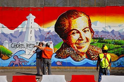 Graffiti, memorial for the poet Gabriela Mistral, Nobel Prize for Literature, Santiago de Chile, Chile, South America