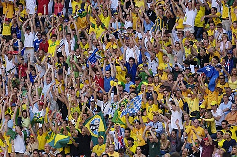 Brazilian soccer fans doing the wave at the World Cup 2006 in Germany