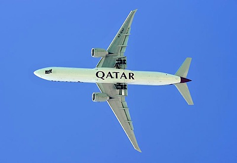 Airplane of Qatar Airways in the sky