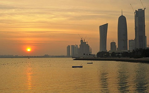 Sunset, Persian Gulf, Navigation Tower, Al-Thani Tower, Doha, Emirate of Qatar, Middle East, Asia