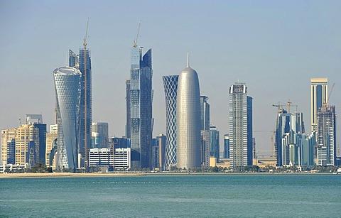 Skyline of Doha, Qatar, Persian Gulf, Middle East, Asia