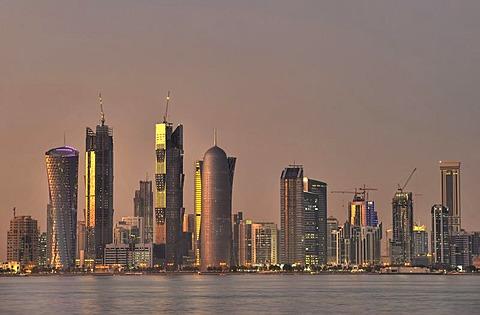 Skyline of Doha, Tornado Tower, Navigation Tower, Peace Towers, Al-Thani Tower, Doha, Qatar, Persian Gulf, Middle East, Asia