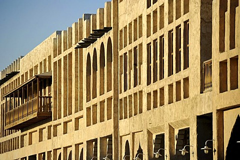 Building in the Souq al Waqif, oldest souq or bazaar of Doha, Qatar, Persian Gulf, Middle East, Asia
