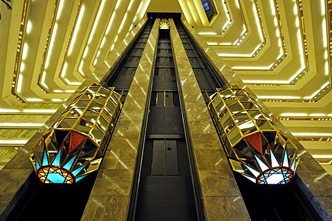Interior, elevators, Hotel Doha Sheraton, Doha, Qatar, Persian Gulf, Middle East, Asia