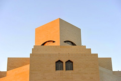 Museum of Islamic Art, designed by I.M. PEI, evening atmosphere, Corniche, Doha, Qatar, Persian Gulf, Middle East, Asia
