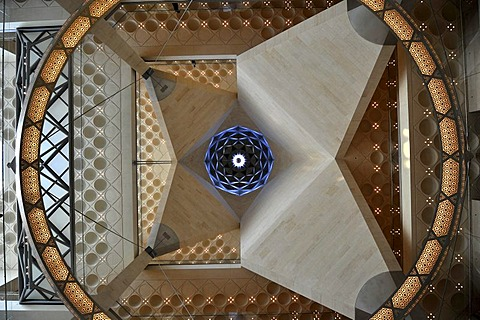Interior shot, ceiling construction of the atrium, Museum of Islamic Art, designed by I.M. PEI, Corniche, Doha, Qatar, Persian Gulf, Middle East, Asia