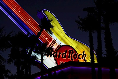 Guitar of the Hard Rock hotel on the Paradise Road, detail, Las Vegas, USA