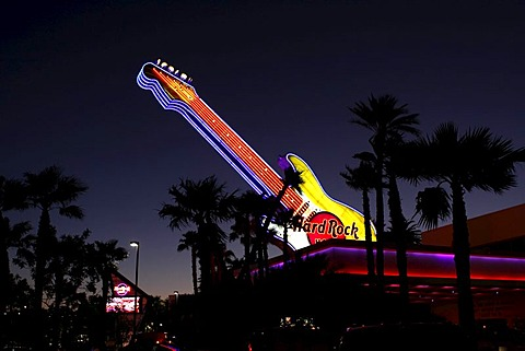 Guitar of the Hard Rock hotel on the Paradise Road, Las Vegas, USA