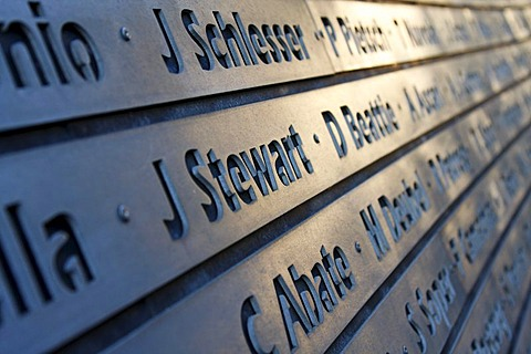 Plaque with names of the Formula 1 Grand Prix winners at the Nurburgring race track, multiple world champion Jackie Stewart in focus, Rhineland-Palatinate, Germany, Europe