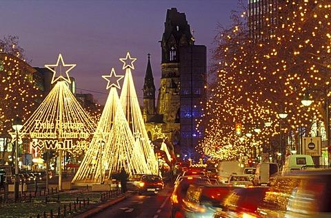 Tauentzienstrasse strasse and Kaiser-Wilhelm-Gedaechtniskirche, Kaiser Wilhelm Memorial Church at Breitscheidplatz square at Christmas time with fairy lights, Charlottenburg district, Berlin, Germany, Europe