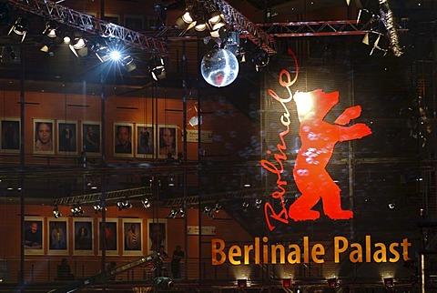 Berlinale Bear, logo and symbol of the Berlinale or Berlin Film Festival, Sony Center on Potsdamer Platz square, Tiergarten district, Berlin, Germany, Europe