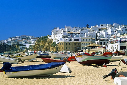 View of city with beach, Albufeira, Algarve, Portugal, Europe