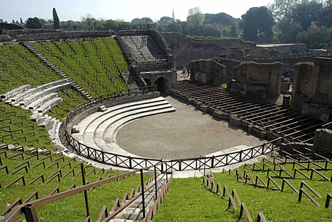 Antique theatre in Pompeii, Italy, Europe