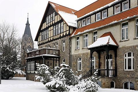 Protestant Neinstedter Anstalten foundation, snow, Neinstedt, Northern Harz, Saxony-Anhalt, Germany, Europe