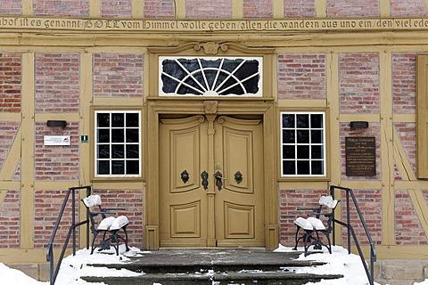 Entrance to the Lindenhof, origin of the Protestant Neinstedter Anstalten foundation, Neinstedt, Northern Harz, Saxony-Anhalt, Germany, Europe