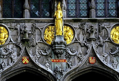 Holy Blood Basilica, Gothic relief and ornamental sculptures, Bruges, West Flanders, Belgium, Europe