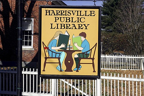 Public Library sign, Harrisville, New Hampshire, New England, USA