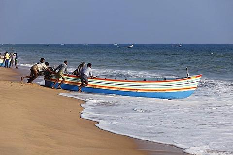 Fishermen pushing their fishing boat into the sea, Somatheeram Beach, Malabarian Coast, Malabar, Kerala state, India, Asia