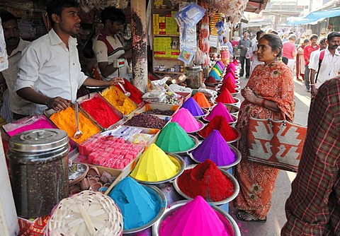 Stall with powdered pigment, Devaraja Market, Mysore, Karnataka, South India, India, South Asia, Asia