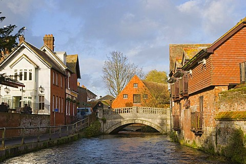 "View on River Itchen with the city bridge from ""The Weirs"", Winchester, Hampshire, England, United Kingdom, Europe"