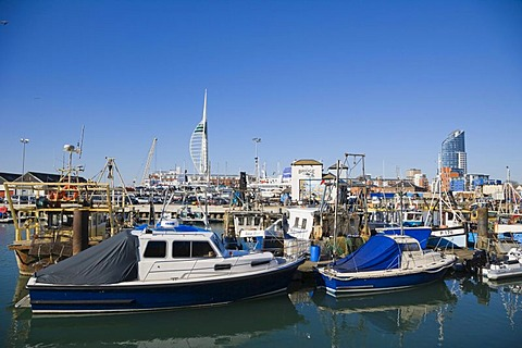Inner Camber Dock with Bridge Tavern, Spinnaker Tower and The Number One Tower or Lipstick at back, Portsmouth, Hampshire, England, United Kingdom, Europe