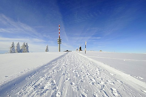 Rolled snow trail on the 1493m high Mt. Feldberg in the Black Forest, on the horizon the new Feldbergturm antenna with the weather radar system, Landkreis Breisgau-Hochschwarzwald district, Baden-Wuerttemberg, Germany, Europe