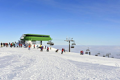 The upper cable car station on Mt. Seebuck, an outlier of the 1493m high Mt. Feldberg in the Black Forest, Landkreis Breisgau-Hochschwarzwald district, Baden-Wuerttemberg, Germany, Europe