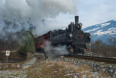 Nostalgic steam train as a tourist attraction, Zillertalbahn, regional train, Tyrol, Austria, Europe