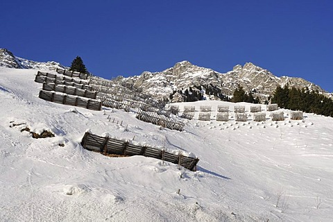Avalanche protection on Maloja Pass, Bregaglia, Grisons, Switzerland, Europe