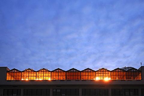 Lit studio spaces of the Biocenter against the evening sky, Wolfgang Langenbeckstr. 22, Halle, Saxony-Anhalt, Germany, Europe