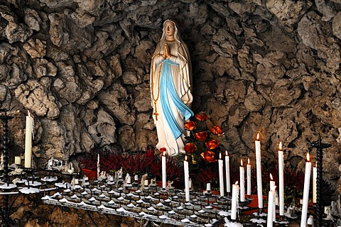 Devotional grotto with Madonna and votive candles in the courtyard of the Basilika Goessweinstein basilica, Balthasar-Neumann-Strasse 7, Goessweinstein, Upper Franconia, Bavaria, Germany, Europe