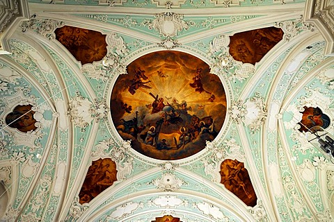 Vaulted ceiling, ceiling painting by M. Guenther from 1752, Basilika Goessweinstein basilica, Baroque, consecrated in 1739, architect Baltasar Neumann, Balthasar-Neumann-Strasse 7, Goessweinstein, Upper Franconia, Bavaria, Germany, Europe