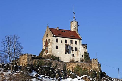 Burg Goessweinstein castle, 1076, remodeled in 1890 in the Neo-Gothic style, Goessweinstein, Upper Franconia, Bavaria, Germany, Europe