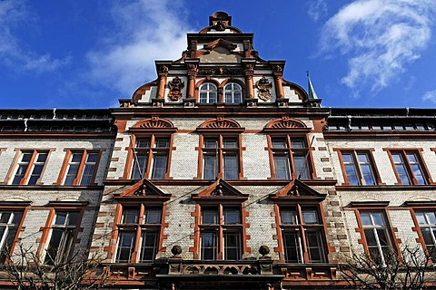 Ornate facade of the main post office, built from 1892 to 1897 in Neo-Renaissance style, Mecklenburgstrasse, Schwerin, Mecklenburg-Western Pomerania, Germany, Europe