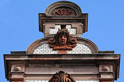 Decorative gable, main post office, built from 1892 to 1897 in neo-Renaissance style, Mecklenburgstrasse, Schwerin, Mecklenburg-Western Pomerania, Germany, Europe